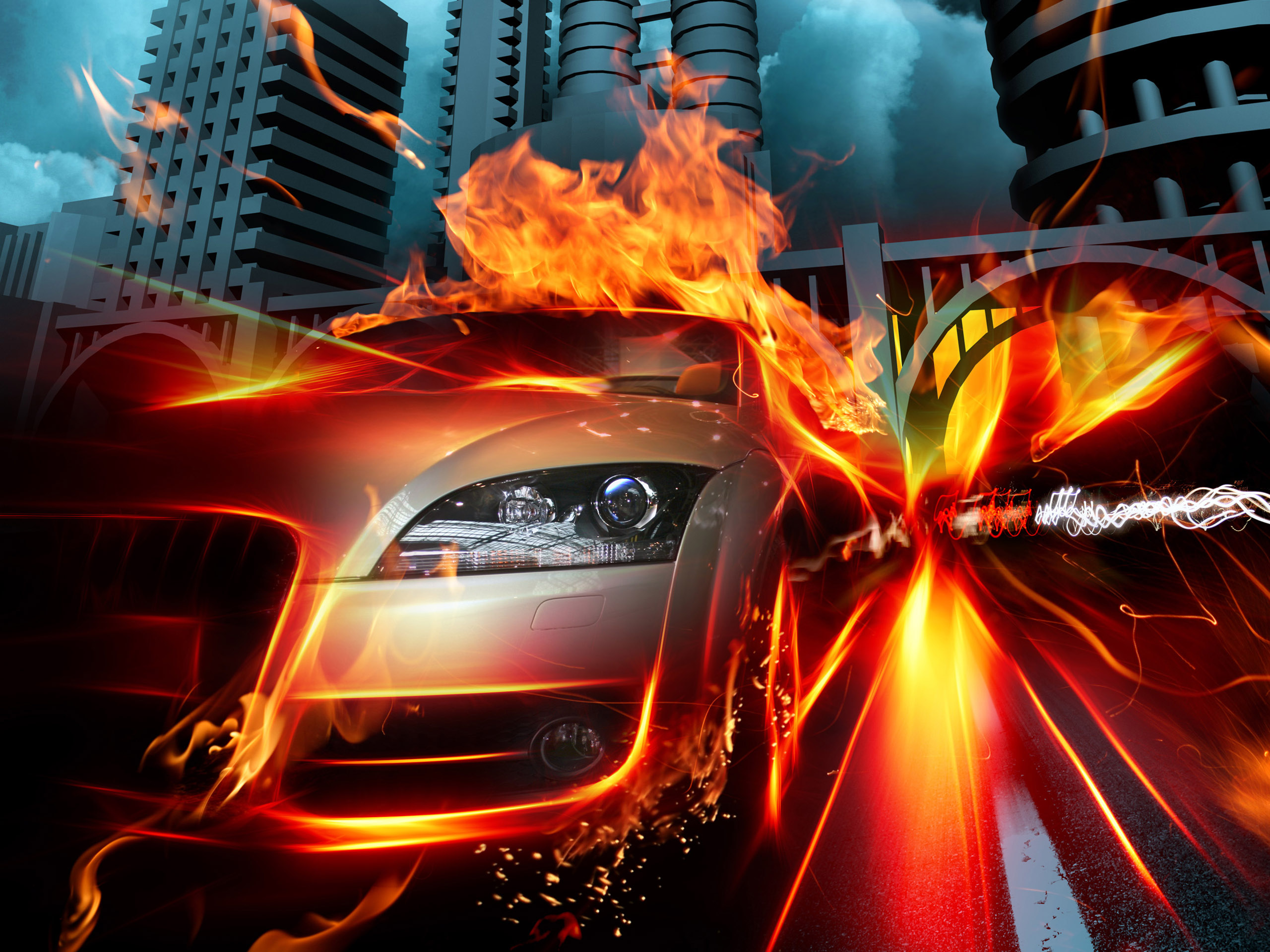 car_in_fire_city